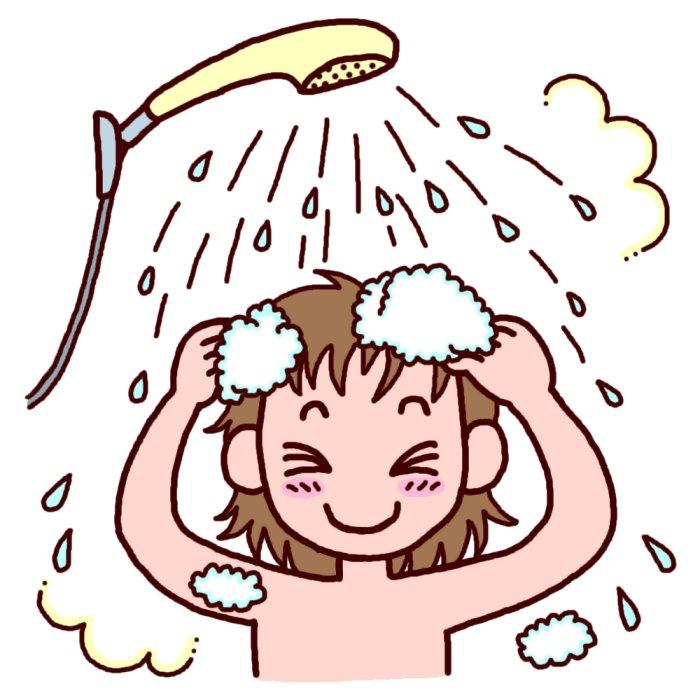 Картинка как ребенок моет голову