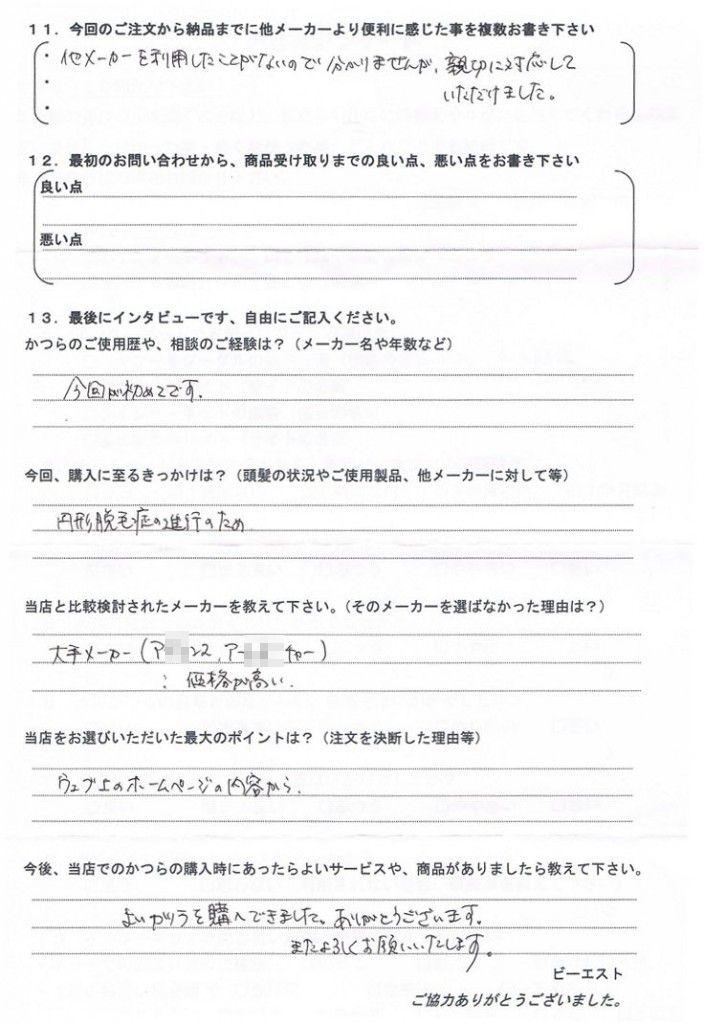 山口県30代(円形脱毛症、医療用かつら)