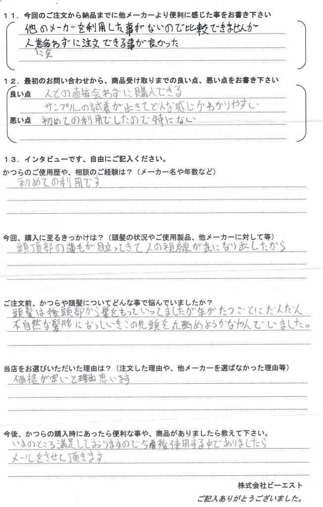 長野県30代(髪型無理アリ初めてのかつら)