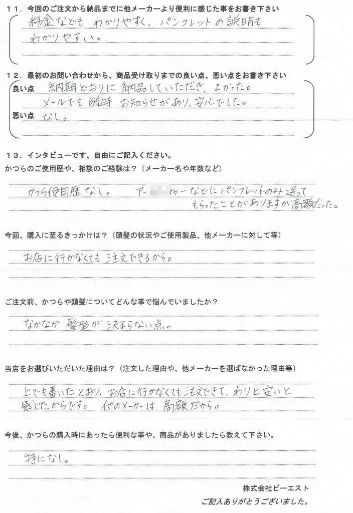 石川県30代(奥様からご注文・初めてかつら)