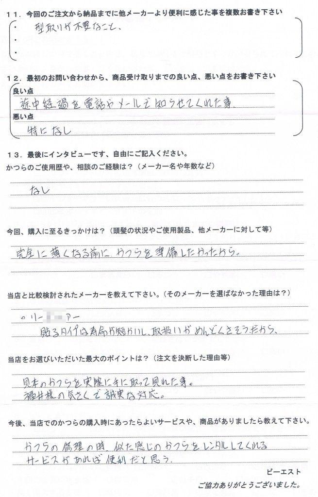 青森県40代(初めてのかつら)