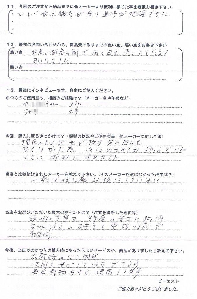佐賀県50代(かつら8年、自分で修理)