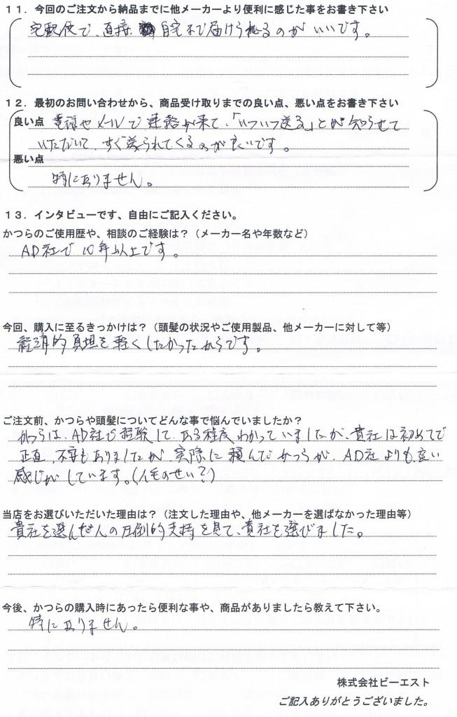 新潟県60代(かつら年間契約、大手10年)