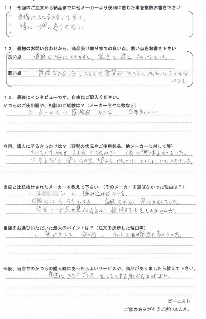 北海道30代(人工毛かつら、普段は粉使用)