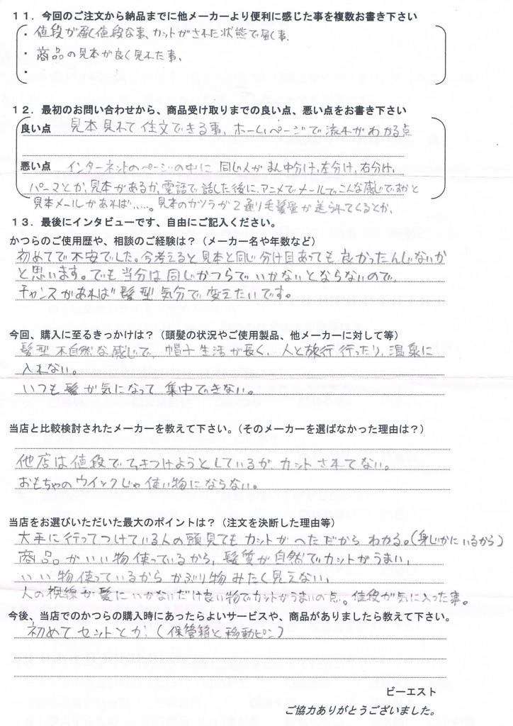 北海道40代(かつら初めて、増毛スプレー)