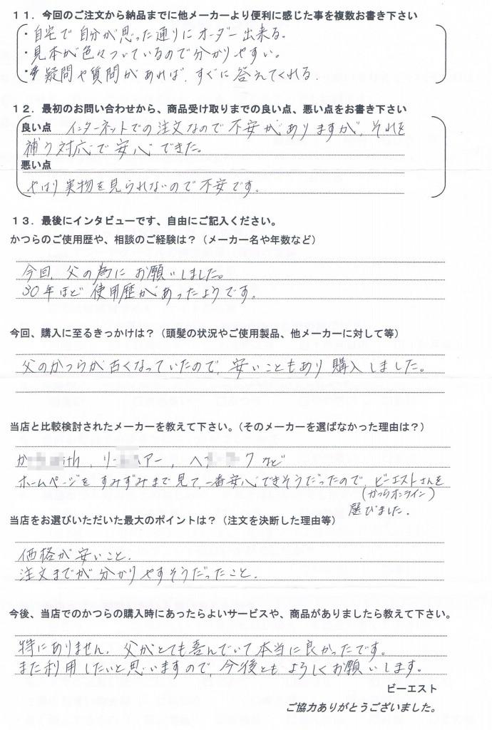 長崎県60代(かつら30年、娘さんからご注文)