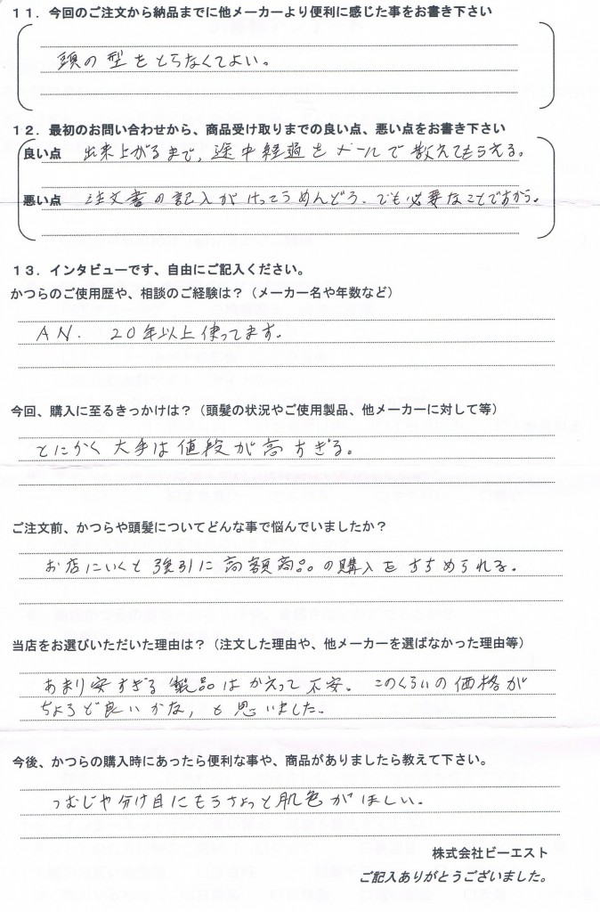 愛知県50代(かつら大手20年、値段高すぎる)