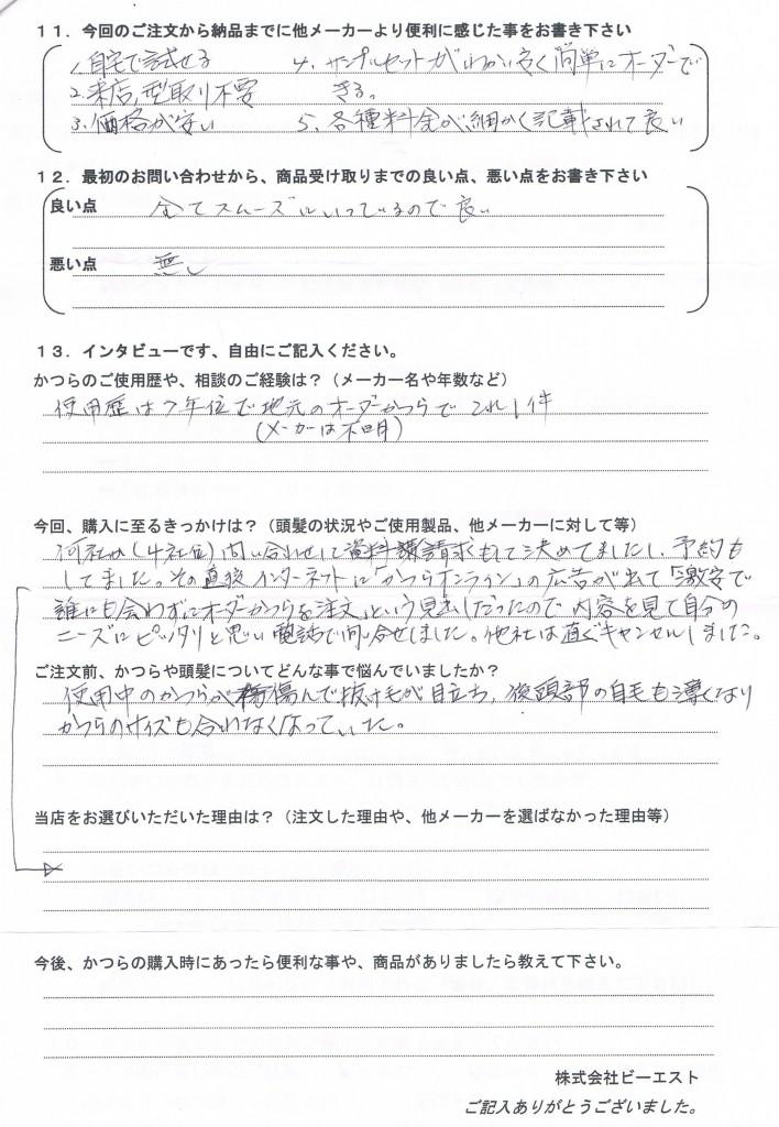 山形県60代(かつら個人店で7年使用中)
