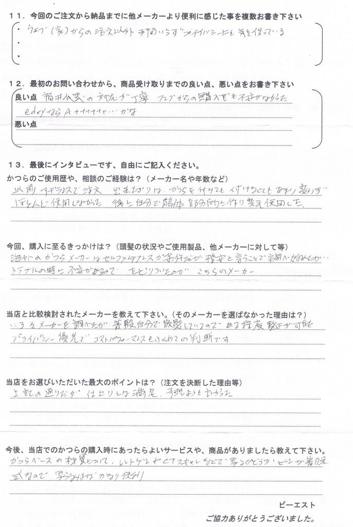 千葉県40代(昔のかつら自分でカット)
