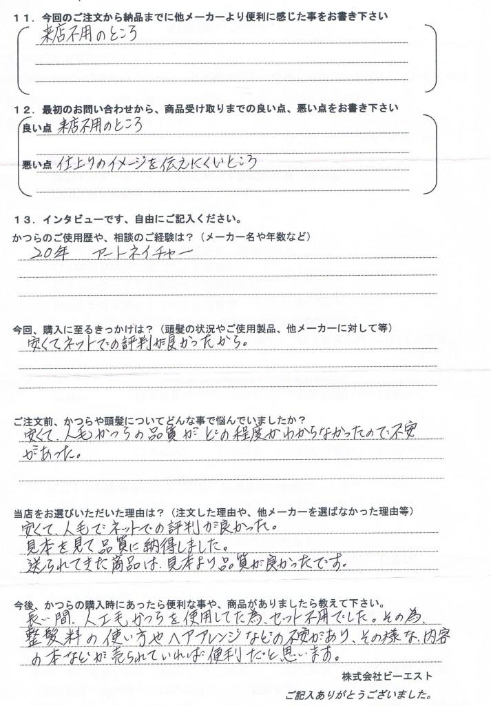 岐阜県50代(かつら20年、痛み激しく)