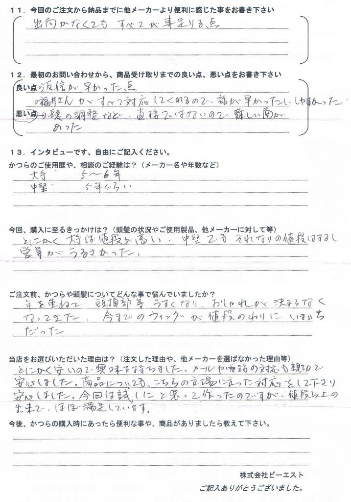 部分かつら女性用10年(東京都50代)