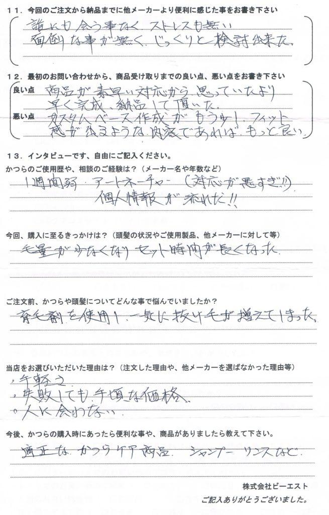 男性部分かつら・大手で作成して未使用(鳥取県)