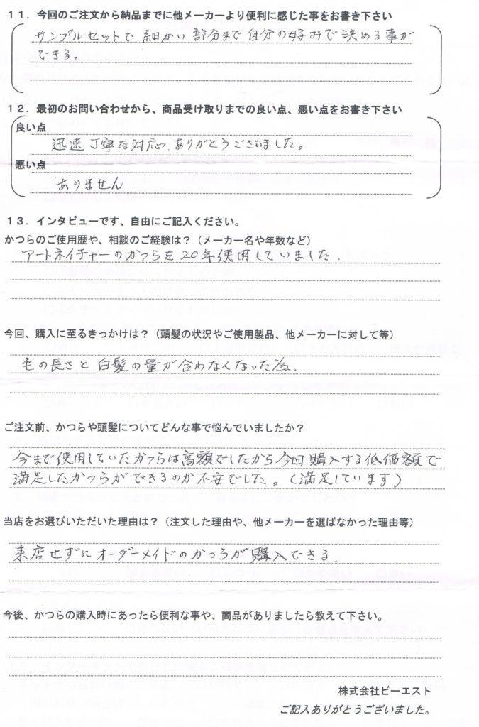 かつら白髪70%・使用20年(福岡県)
