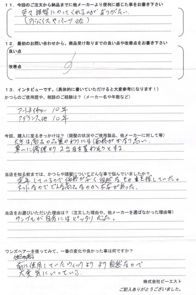 かつらのリース(年会費)契約が切れる(奈良県)